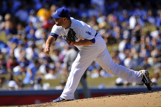 September 29, 2013; Los Angeles, CA, USA; Los Angeles Dodgers starting pitcher Ricky Nolasco (47) pitches during the fifth inning against the Colorado Rockies at Dodger Stadium. Mandatory Credit: Gary A. Vasquez-USA TODAY Sports
