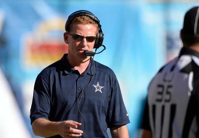 Sep 29, 2013; San Diego, CA, USA;  Dallas Cowboys head coach Jason Garrett during the second half against the San Diego Chargers at Qualcomm Stadium. Mandatory Credit: Robert Hanashiro-USA TODAY Sports