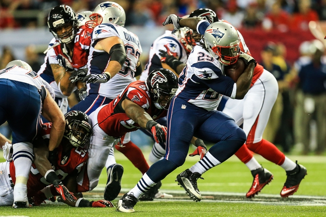 Sep 29, 2013; Atlanta, GA, USA; New England Patriots running back LeGarrette Blount (29) breaks away for a long touchdown in the second half against the Atlanta Falcons at the Georgia Dome. The Patriots won 30-23. Mandatory Credit: Daniel Shirey-USA TODAY Sports