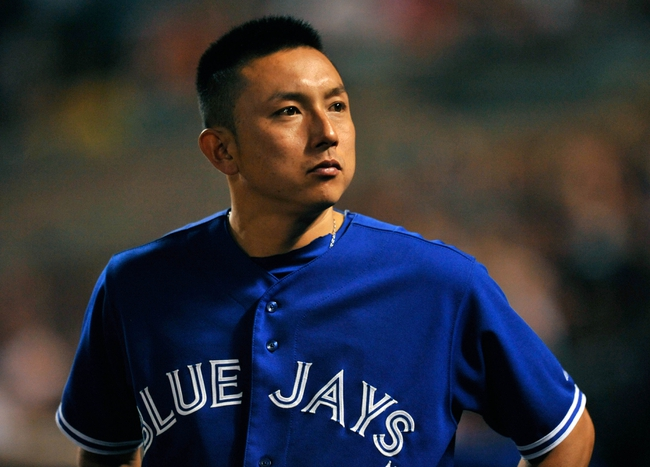 Sep 25, 2013; Baltimore, MD, USA; Toronto Blue Jays designated hitter Munenori Kawasaki (66) during a game against the Baltimore Orioles at Oriole Park at Camden Yards. The Orioles defeated the Blue Jays 9-5. Mandatory Credit: Joy R. Absalon-USA TODAY Sports