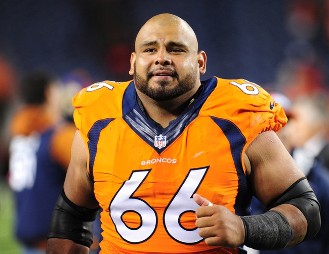 Sep 23, 2013; Denver, CO, USA; Denver Broncos center Manny Ramirez (66) after the game against the Oakland Raiders at Sports Authority Field at Mile High.  The Broncos won 37-21. Mandatory Credit: Chris Humphreys-USA TODAY Sports