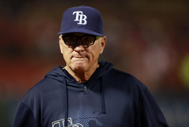 Sep 30, 2013; Arlington, TX, USA; Tampa Bay Rays manager Joe Maddon during the seventh inning against the Texas Rangers at Rangers Ballpark at Arlington. Mandatory Credit: Tim Heitman-USA TODAY Sports