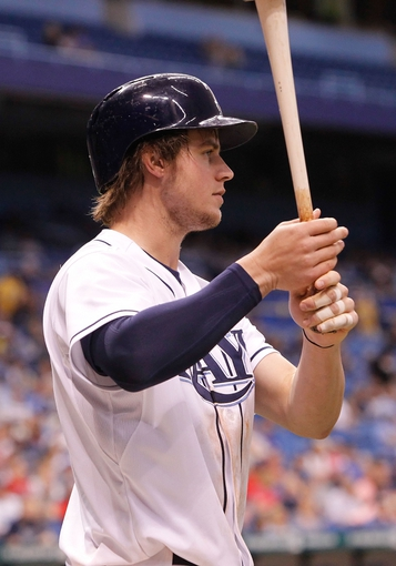 Sep 16, 2013; St. Petersburg, FL, USA; Tampa Bay Rays right fielder Wil Myers (9) at bat against the Texas Rangers at Tropicana Field. Tampa Bay Rays defeated the Texas Rangers 6-2. Mandatory Credit: Kim Klement-USA TODAY Sports