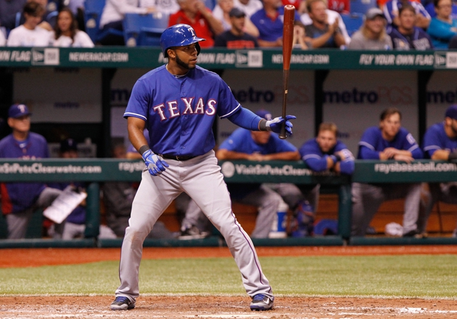 Sep 16, 2013; St. Petersburg, FL, USA; Texas Rangers shortstop Elvis Andrus (1) at bat against the Tampa Bay Rays at Tropicana Field. Tampa Bay Rays defeated the Texas Rangers 6-2. Mandatory Credit: Kim Klement-USA TODAY Sports