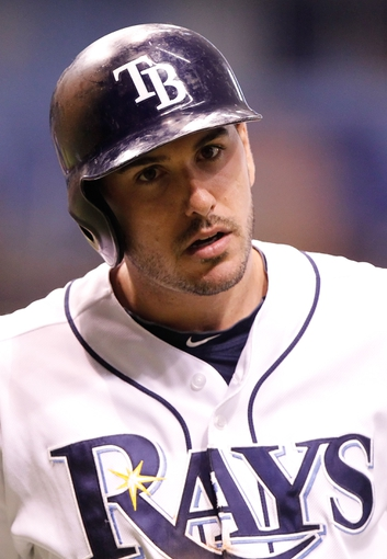 Sep 16, 2013; St. Petersburg, FL, USA; Tampa Bay Rays right fielder Matt Joyce (20) against the Texas Rangers at Tropicana Field. Mandatory Credit: Kim Klement-USA TODAY Sports