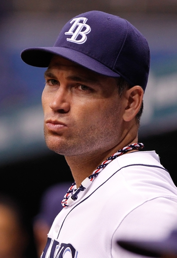 Sep 16, 2013; St. Petersburg, FL, USA; Tampa Bay Rays designated hitter Luke Scott (30) against the Texas Rangers at Tropicana Field. Tampa Bay Rays defeated the Texas Rangers 6-2. Mandatory Credit: Kim Klement-USA TODAY Sports