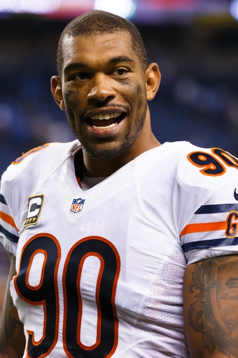 Sep 29, 2013; Detroit, MI, USA; Chicago Bears defensive end Julius Peppers (90) after the game against the Detroit Lions at Ford Field. Mandatory Credit: Rick Osentoski-USA TODAY Sports