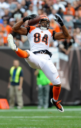 Sep 29, 2013; Cleveland, OH, USA; Cincinnati Bengals tight end Jermaine Gresham (84) makes a leaping catch against the Cleveland Browns at FirstEnergy Stadium. Mandatory Credit: Ken Blaze-USA TODAY Sports
