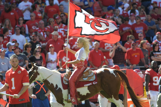 Sep 29, 2013; Kansas City, MO, USA; Kansas City Chiefs mascot WarPaint is ridden onto the field after a score during the game against the New York Giants at Arrowhead Stadium. The Chiefs won 31-7. Mandatory Credit: Denny Medley-USA TODAY Sports