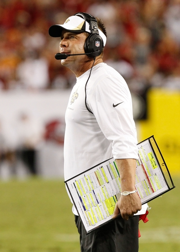 Sep 15, 2013; Tampa, FL, USA; New Orleans Saints head coach Sean Payton against the Tampa Bay Buccaneers during the second half at Raymond James Stadium. New Orleans Saints defeated the Tampa Bay Buccaneers 16-14. Mandatory Credit: Kim Klement-USA TODAY Sports