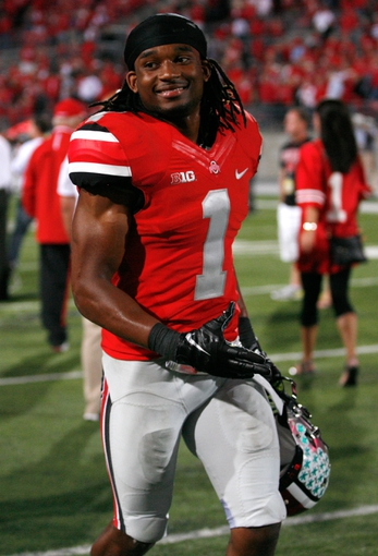 Sep 28, 2013; Columbus, OH, USA; Ohio State Buckeyes cornerback Bradley Roby (1) smiles after the game against the Wisconsin Badgers at Ohio Stadium. Buckeyes beat the Badgers 31-24. Mandatory Credit: Raj Mehta-USA TODAY Sports