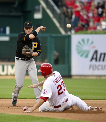 Oct 3, 2013; St. Louis, MO, USA; Pittsburgh Pirates shortstop Clint Barmes (12) commits a throwing error as he attempts to turn a double play over St. Louis Cardinals third baseman David Freese (23) in the fifth inning in game one of the National League divisional series playoff baseball game at Busch Stadium. The Cardinals defeated the Pirates 9-1. Mandatory Credit: Scott Rovak-USA TODAY Sports