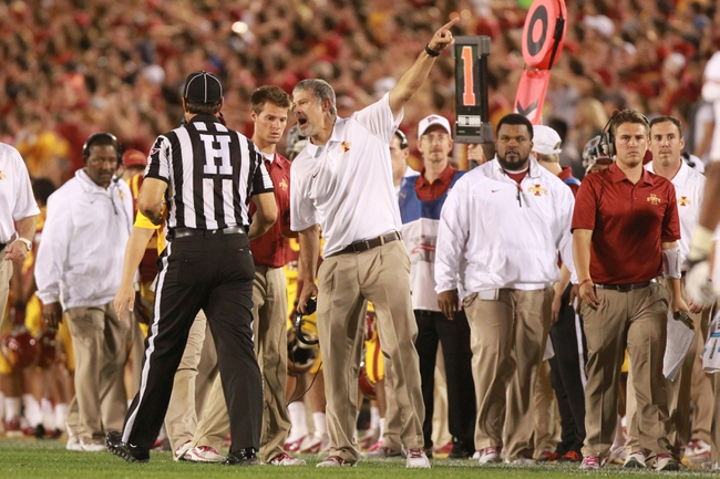 Oct 3, 2013; Ames, IA, USA;  Iowa State Cyclones coach Paul Rhoads screams at the officials during their game against the Texas Longhorns at Jack Trice Stadium. Texas beat Iowa State 31-30.   Mandatory Credit: Reese Strickland-USA TODAY Sports
