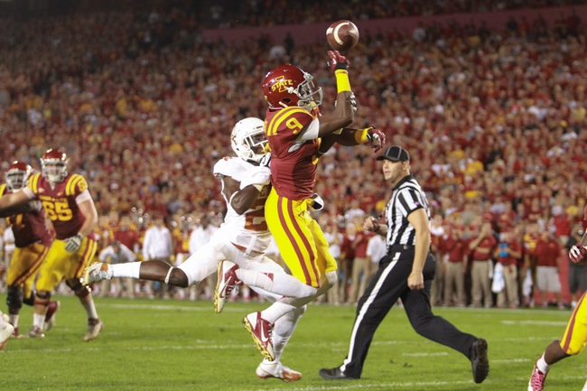 Oct 3, 2013; Ames, IA, USA;  Iowa State Cyclones running back James White (8) misses a pass against the Texas Longhorns during the fourth quarter at Jack Trice Stadium. Texas beat Iowa State 31-30.   Mandatory Credit: Reese Strickland-USA TODAY Sports