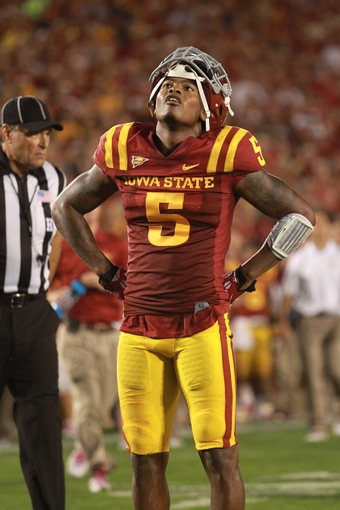 Oct 3, 2013; Ames, IA, USA;  Iowa State Cyclones safety Jacques Washington (5) reacts to the Cyclones loss against the Texas Longhorns at Jack Trice Stadium. Texas beat Iowa State 31-30.   Mandatory Credit: Reese Strickland-USA TODAY Sports