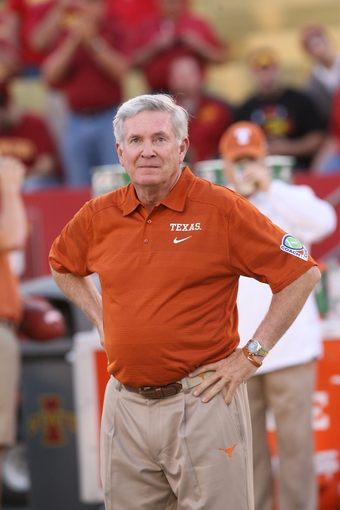 Oct 3, 2013; Ames, IA, USA; Texas Longhorns coach Mack Brown looks on as his team battles the Iowa State Cyclones at Jack Trice Stadium. Texas Beat Iowa State 31-30.  Mandatory Credit: Reese Strickland-USA TODAY Sports