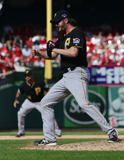 Oct 4, 2013; St. Louis, MO, USA; Pittsburgh Pirates relief pitcher Jason Grilli celebrates after game two of the National League divisional series playoff baseball game against the St. Louis Cardinals at Busch Stadium. Mandatory Credit: Scott Rovak-USA TODAY Sports