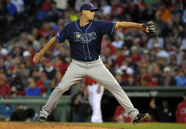 Oct 4, 2013; Boston, MA, USA; Tampa Bay Rays relief pitcher Jamey Wright (35) pitches during the eighth inning in game one of the American League divisional series playoff baseball game against the Boston Red Sox at Fenway Park. Mandatory Credit: Bob DeChiara-USA TODAY Sports