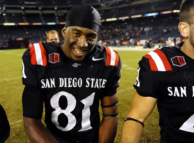 Oct 4, 2013; San Diego, CA, USA; San Diego State wide receiver Eric Judge (81) after a 51-44 overtime win against the Nevada Wolf Pack at Qualcomm Stadium. Mandatory Credit: Christopher Hanewinckel-USA TODAY Sports