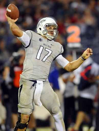 Oct 4, 2013; San Diego, CA, USA; Nevada Wolf Pack quarterback Cody Fajardo (17) passes the ball during the second half against the San Diego State Aztecs at Qualcomm Stadium. Mandatory Credit: Christopher Hanewinckel-USA TODAY Sports
