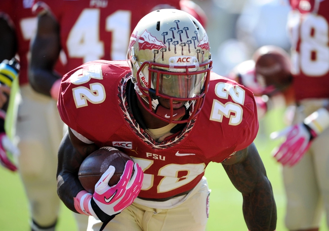 Oct 5, 2013; Tallahassee, FL, USA; Florida State Seminoles running back James Wilder Jr. (32) warms up before the start of the game against the Maryland Terrapins at Doak Campbell Stadium. Mandatory Credit: Melina Vastola-USA TODAY Sports