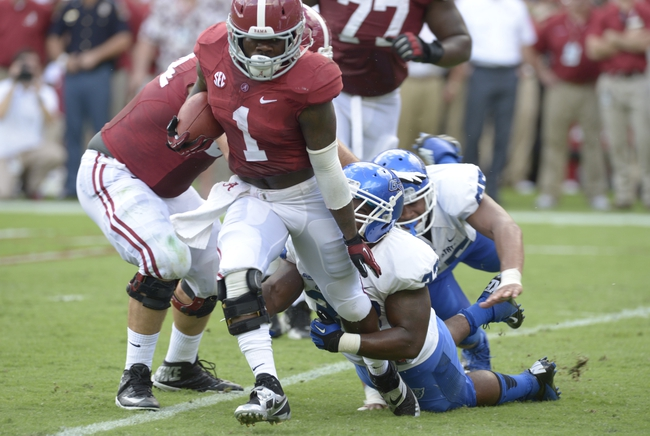 Oct 5, 2013; Tuscaloosa, AL, USA; Alabama Crimson Tide running back Dee Hart (1) carries the ball up the field against Georgia State Panthers linebacker Kight Dallas (33) during the second quarter at Bryant-Denny Stadium. Mandatory Credit: John David Mercer-USA TODAY Sports