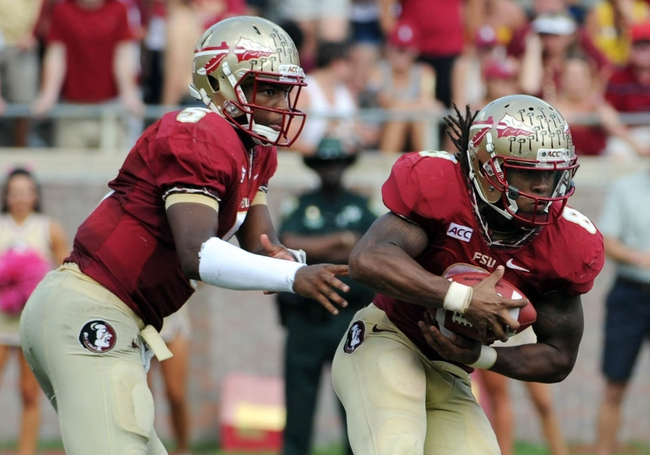Oct 5, 2013; Tallahassee, FL, USA; Florida State Seminoles quarterback Jameis Winston (5) hands the ball off to running back Devonta Freeman (8)  during the second half of the game against the Maryland Terrapins at Doak Campbell Stadium. Mandatory Credit: Melina Vastola-USA TODAY Sports
