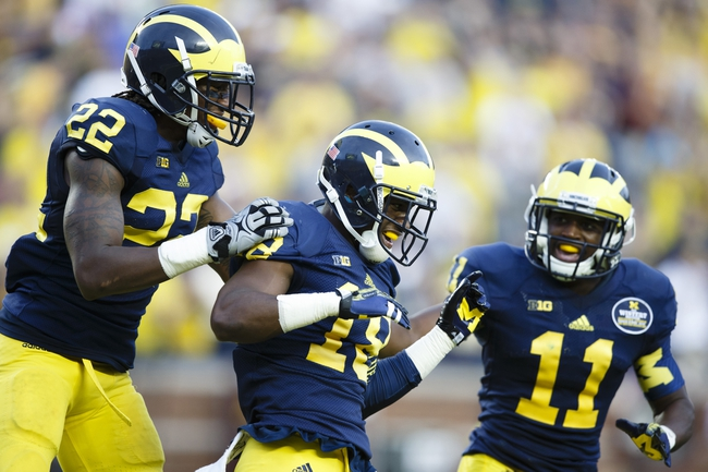 Oct 5, 2013; Ann Arbor, MI, USA; Michigan Wolverines defensive back Blake Countess (18) receives congratulations from safety Jarrod Wilson (22) and cornerback Courtney Avery (11) after scoring on a interception return in the fourth quarter against the Minnesota Golden Gophers at Michigan Stadium. Michigan won 42-13. Mandatory Credit: Rick Osentoski-USA TODAY Sports