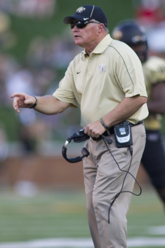 Oct 5, 2013; Winston-Salem, NC, USA; Wake Forest Demon Deacons head coach Jim Grobe stands on the field during the third quarter against the North Carolina State Wolfpack at BB&T Field. Wake defeated North Carolina State 28-13. Mandatory Credit: Jeremy Brevard-USA TODAY Sports