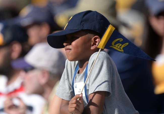 Oct 5, 2013; Berkeley, CA, USA; California Golden Bears fan Tai McCleskey reacts during the game against the Washington State Cougars at Memorial Stadium. Washington State defeated California 44-22. Mandatory Credit: Kirby Lee-USA TODAY Sports