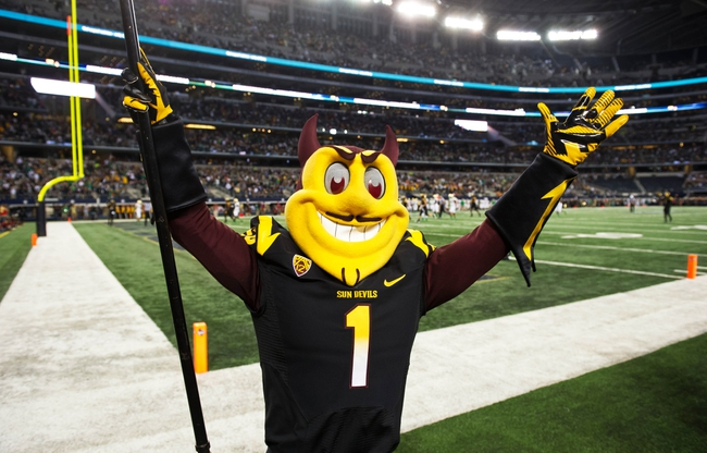 Oct 5, 2013; Arlington, TX, USA; Arizona State Sun Devils mascot Sparky the Sun Devil celebrates after a Sun Devils touchdown in the second quarter against the Notre Dame Fighting Irish at AT&T Stadium. Mandatory Credit: Matt Cashore-USA TODAY Sports