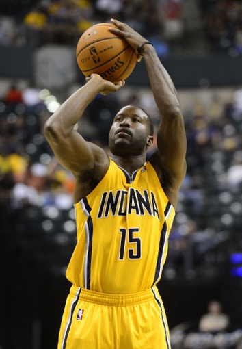 Oct 5, 2013; Indianapolis, IN, USA; Indiana Pacers point guard Donald Sloan (15) shoots a free throw at Bankers Life Fieldhouse. Bulls beat Pacers 82-76. Mandatory Credit: Marc Lebryk-USA TODAY Sports