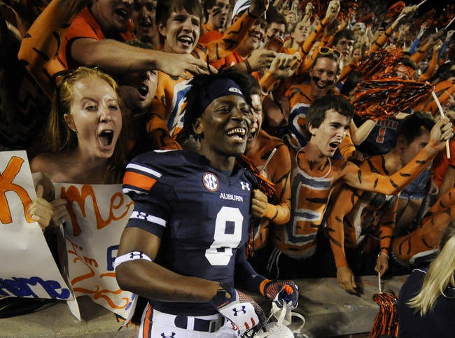 Oct 5, 2013; Auburn, AL, USA; Auburn Tigers wide receiver Tony Stevens (8) celebrates with fans after the game against the Mississippi Rebels at Jordan Hare Stadium. The Tigers defeated the Rebels 33-20. Mandatory Credit: Shanna Lockwood-USA TODAY Sports