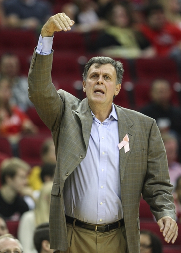 Oct 5, 2013; Houston, TX, USA; Houston Rockets head coach Kevin McHale reacts after a play during the third quarter against the New Orleans Pelicans at Toyota Center. The Pelicans defeated the Rockets 116-115. Mandatory Credit: Troy Taormina-USA TODAY Sports