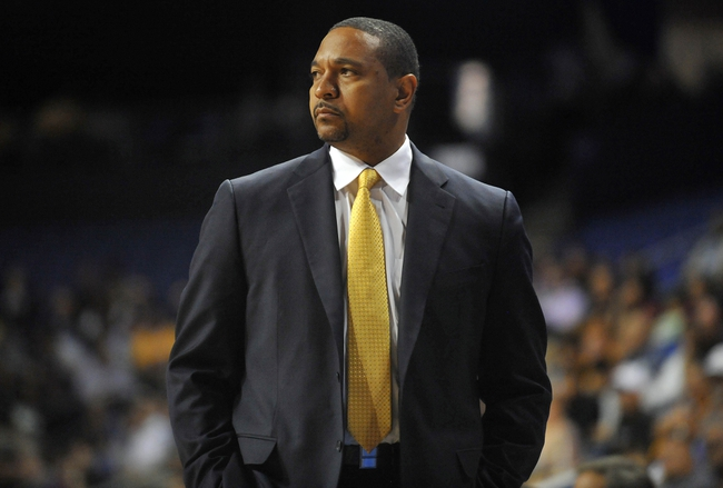 October 5, 2013; Ontario, CA, USA; Golden State Warriors head coach Mark Jackson watches game action against the Los Angeles Lakers during the first half at Citizens Business Bank Arena. Mandatory Credit: Gary A. Vasquez-USA TODAY Sports