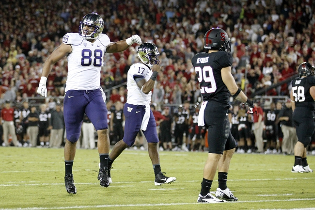 Oct 5, 2013; Stanford, CA, USA; Washington Huskies tight end Austin Saferian-Jenkins (88) reacts after running back Bishop Sankey (not pictured) scored a touchdown against the Stanford Cardinal in the second quarter at Stanford Stadium. Mandatory Credit: Cary Edmondson-USA TODAY Sports