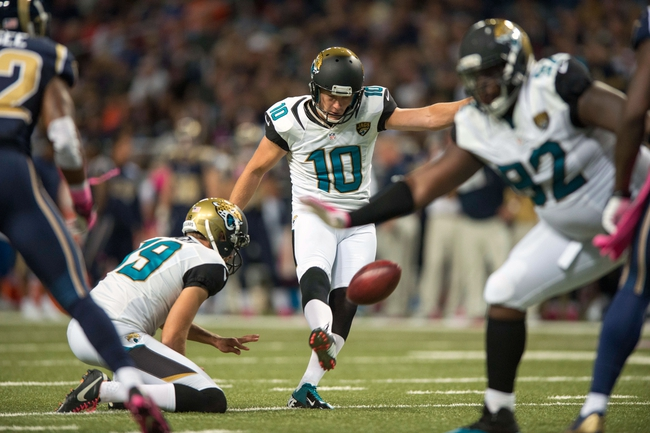 Oct 6, 2013; St. Louis, MO, USA; Jacksonville Jaguars kicker Josh Scobee (10) kicks a 34 yard field goal against the St. Louis Rams at the Edward Jones Dome. St. Louis defeated Jacksonville 34-20. Mandatory Credit: Jeff Curry-USA TODAY Sports