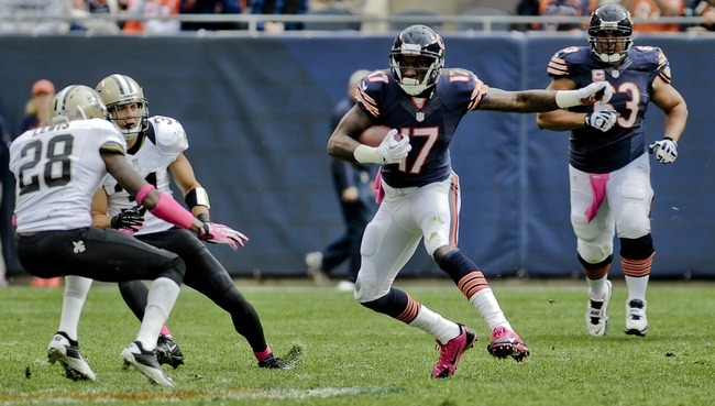 Oct 6, 2013; Chicago, IL, USA; Chicago Bears wide receiver Alshon Jeffery (17) runs against the New Orleans Saints during the second half at Soldier Field.  Mandatory Credit: Matt Marton-USA TODAY Sports