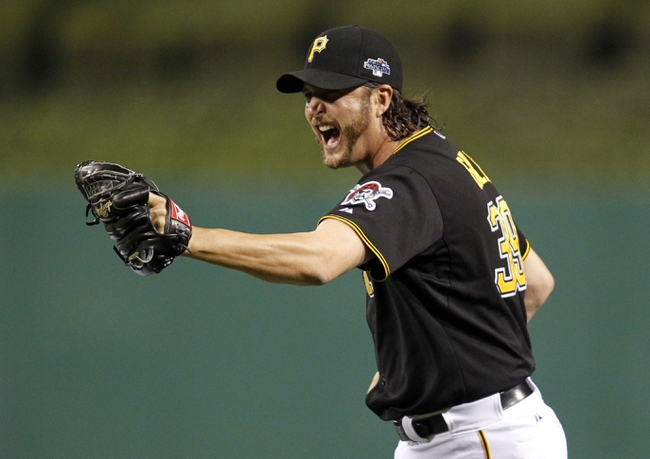 Oct 6, 2013; Pittsburgh, PA, USA; Pittsburgh Pirates relief pitcher Jason Grilli (39) celebrates after game three of the National League divisional series playoff baseball game against the St. Louis Cardinals at PNC Park. Mandatory Credit: Charles LeClaire-USA TODAY Sports