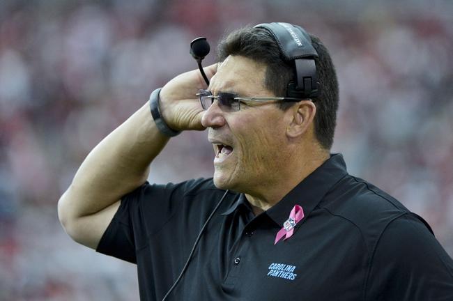 Oct 6, 2013; Phoenix, AZ, USA; Carolina Panthers head coach Ron Rivera reacts during the second half against the Arizona Cardinals at University of Phoenix Stadium. Mandatory Credit: Matt Kartozian-USA TODAY Sports