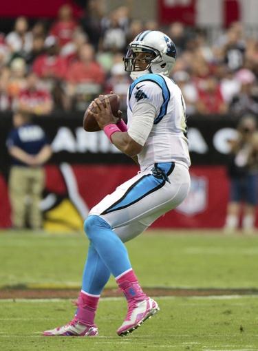 Oct 6, 2013; Phoenix, AZ, USA; Carolina Panthers quarterback Cam Newton (1) throws during the second half against the Arizona Cardinals at University of Phoenix Stadium. Mandatory Credit: Matt Kartozian-USA TODAY Sports