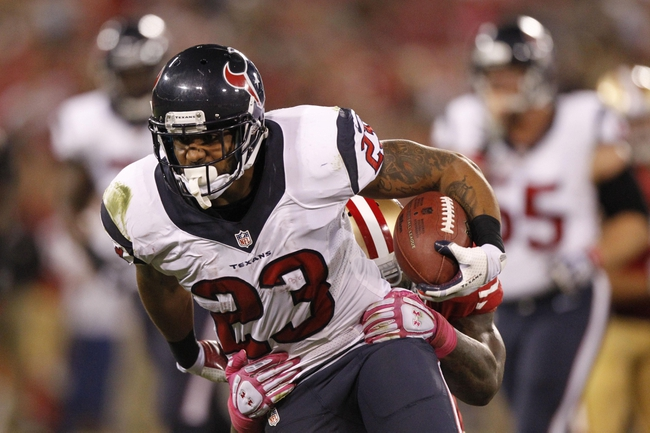 Oct 6, 2013; San Francisco, CA, USA; Houston Texans running back Arian Foster (23) runs with the ball after making a catch against the San Francisco 49ers in the third quarter at Candlestick Park. The 49ers defeated the Texans 34-3. Mandatory Credit: Cary Edmondson-USA TODAY Sports