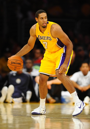 Oct 6, 2013; Los Angeles, CA, USA; Los Angeles Lakers guard Xavier Henry (7) during the second half against the Denver Nuggets at Staples Center. The Nuggets won 97-88. Mandatory Credit: Christopher Hanewinckel-USA TODAY Sports