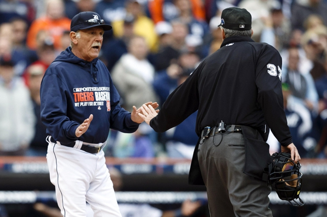 Oct 7, 2013; Detroit, MI, USA; Detroit Tigers manager Jim Leyland (10) talks to umpire Gary Darling (37) in the ninth inning against the Oakland Athletics in game three of the American League divisional series playoff baseball game at Comerica Park. Oakland won 6-3. Mandatory Credit: Rick Osentoski-USA TODAY Sports