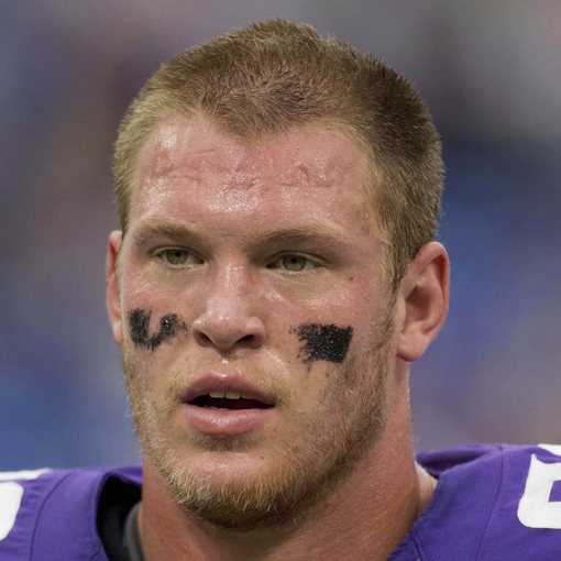 Sep 22, 2013; Minneapolis, MN, USA; Minnesota Vikings tight end Kyle Rudolph (82) leaves the field after losing to the Cleveland Browns at Mall of America Field at H.H.H. Metrodome. The Browns win 31-27. Mandatory Credit: Bruce Kluckhohn-USA TODAY Sports