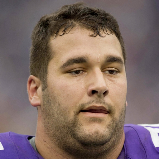 Sep 22, 2013; Minneapolis, MN, USA; Minnesota Vikings tackle Matt Kalil (75) leaves the field after losing to the Cleveland Browns at Mall of America Field at H.H.H. Metrodome. The Browns win 31-27. Mandatory Credit: Bruce Kluckhohn-USA TODAY Sports
