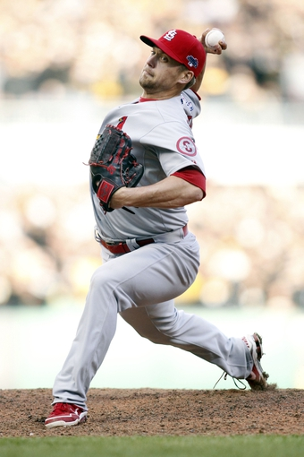 Oct 7, 2013; Pittsburgh, PA, USA; St. Louis Cardinals relief pitcher Trevor Rosenthal throws a pitch against the Pittsburgh Pirates in the 9th inning in game four of the National League divisional series playoff baseball game at PNC Park. Mandatory Credit: Charles LeClaire-USA TODAY Sports