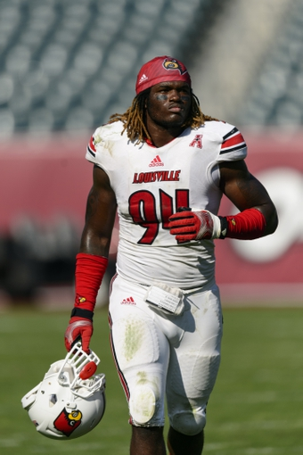Oct 5, 2013; Philadelphia, PA, USA; Louisville Cardinals defensive end Lorenzo Mauldin (94) after the game against the Temple Owls at Lincoln Financial Field. Louisville defeated Temple 30-7. Mandatory Credit: Howard Smith-USA TODAY Sports