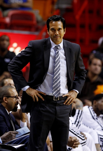 Oct 7, 2013; Miami, FL, USA; Miami Heat head coach Erik Spoelstra in the second half of a game against the Atlanta Hawks at American Airlines Arena. Mandatory Credit: Robert Mayer-USA TODAY Sports