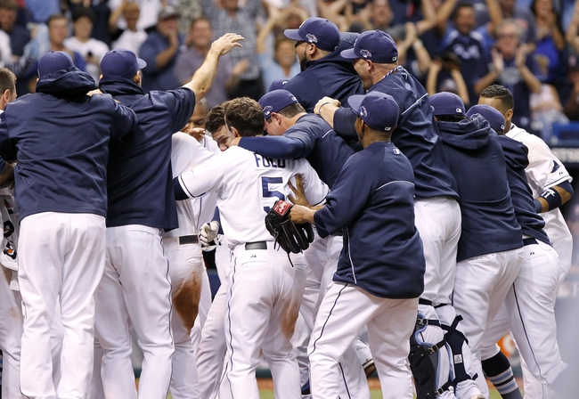 Oct 7, 2013; St. Petersburg, FL, USA; Tampa Bay Rays catcher Jose Lobaton (middle of pile) is congratulated by teammates at home plate after he hit a walk off home run during the ninth inning against the Boston Red Sox in game three of the American League divisional series at Tropicana Field. The Rays won 5-4. Mandatory Credit: Kim Klement-USA TODAY Sports